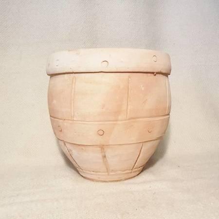 Doniczka ceramiczna tarasowa, balkonowa, do salonu - beczka
